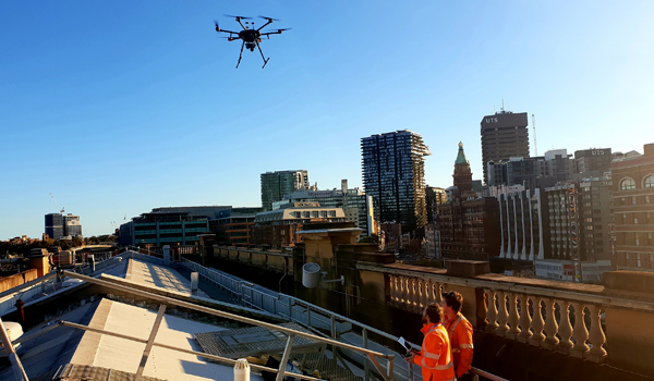 Airsight Australia team above Central Station, Sydney with drone