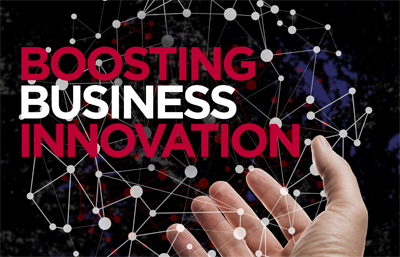 Palm of hand and connected lines with Boosting Business Innovation