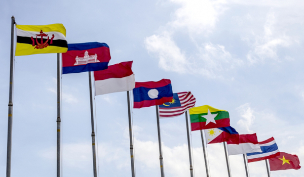 ASEAN flags on flagpoles