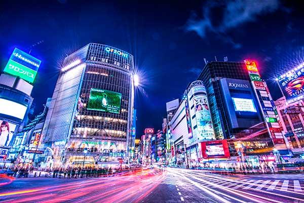 Japanese city at night